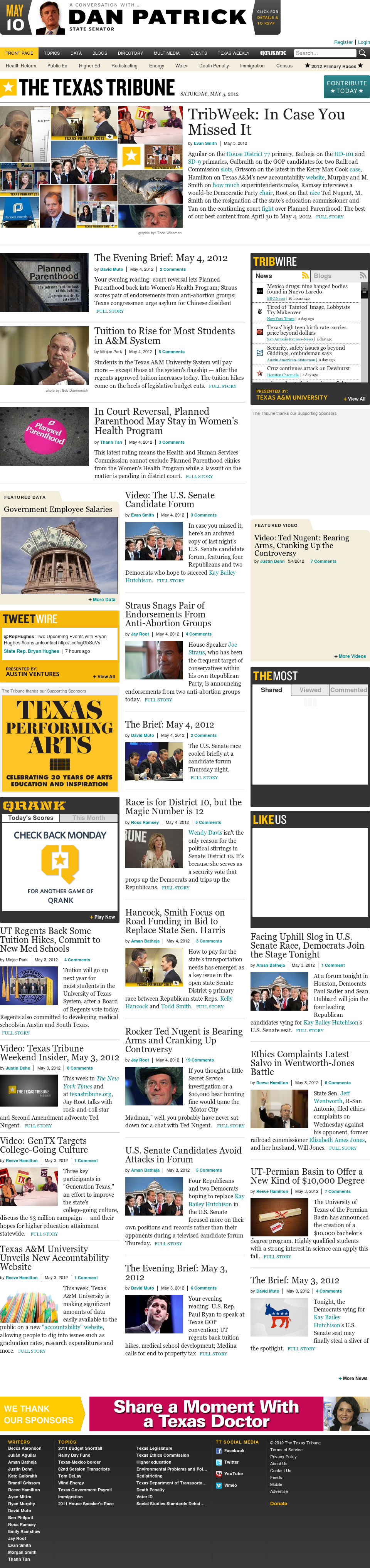 The Texas Tribune at Saturday May 5, 2012, 11:13 a.m. UTC