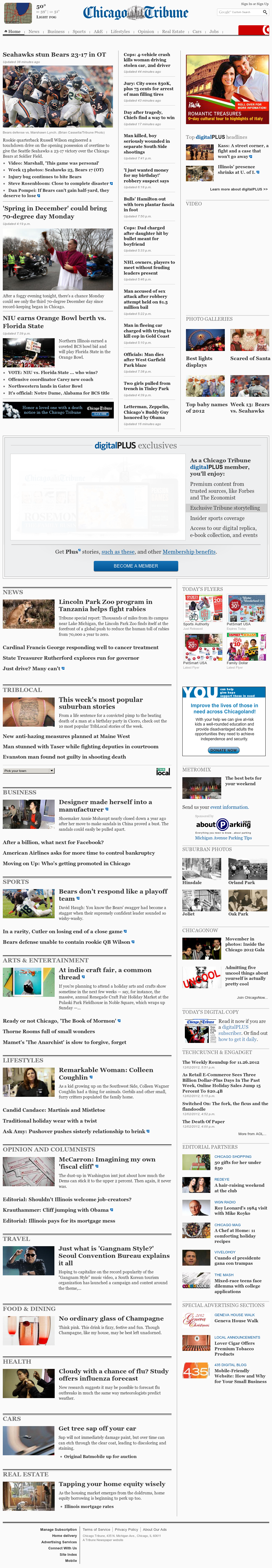 Chicago Tribune at Monday Dec. 3, 2012, 3:05 a.m. UTC