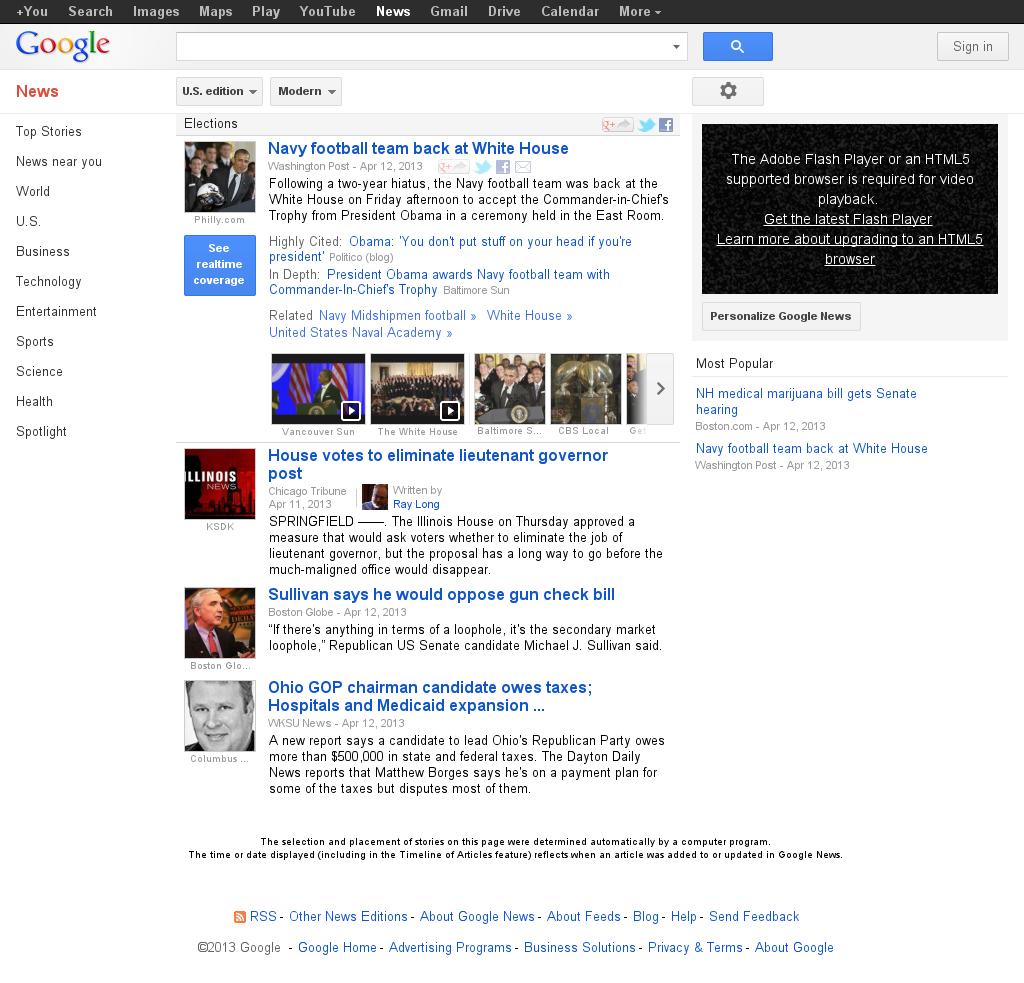 Google News: Elections at Sunday April 14, 2013, 4:07 p.m. UTC