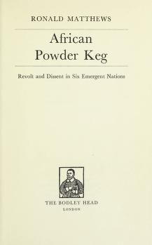 Cover of: African powder keg | Ronald MAtthews