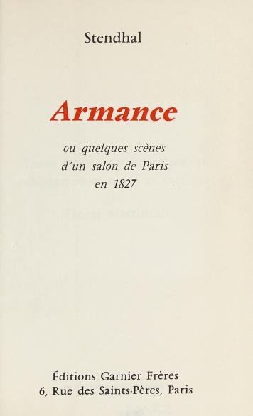 Cover of: Armance | Stendhal