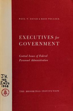Cover of: Executives for government | Paul Theodore David