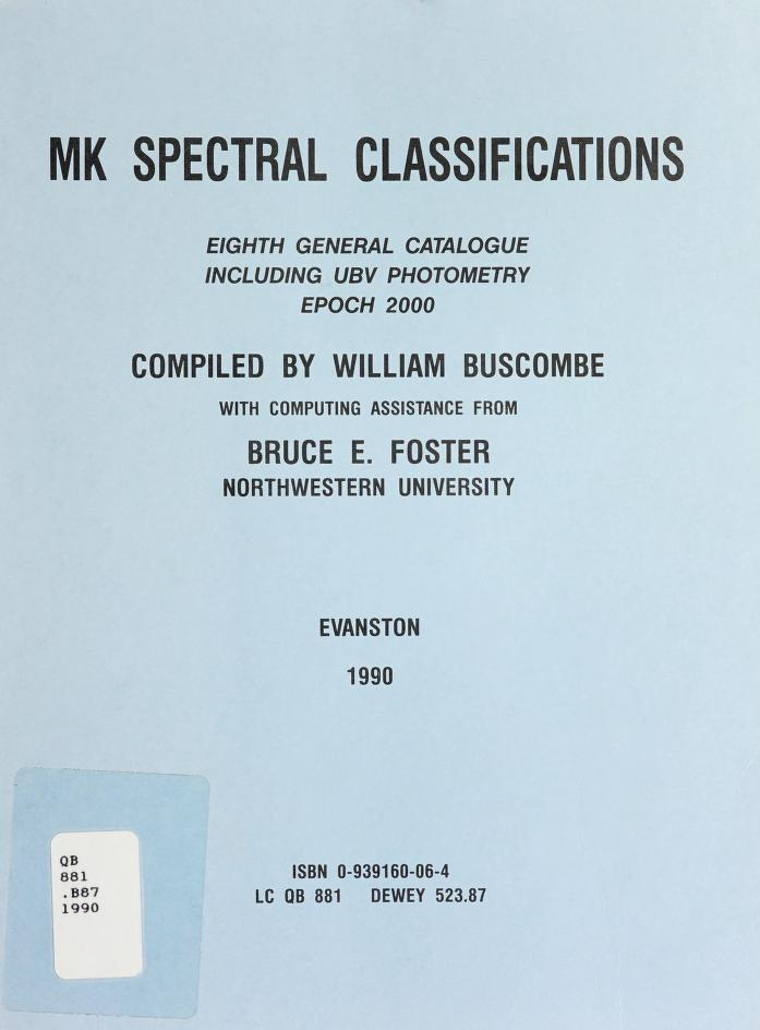 Mk Spectral Classification by William Buscombe